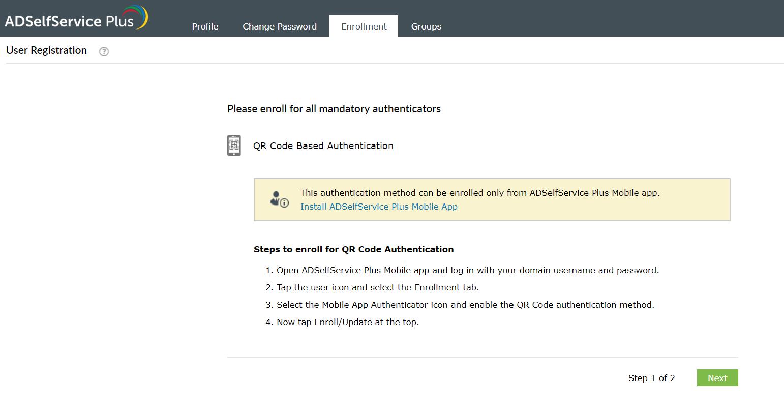 Enrollment using QR code authenticator