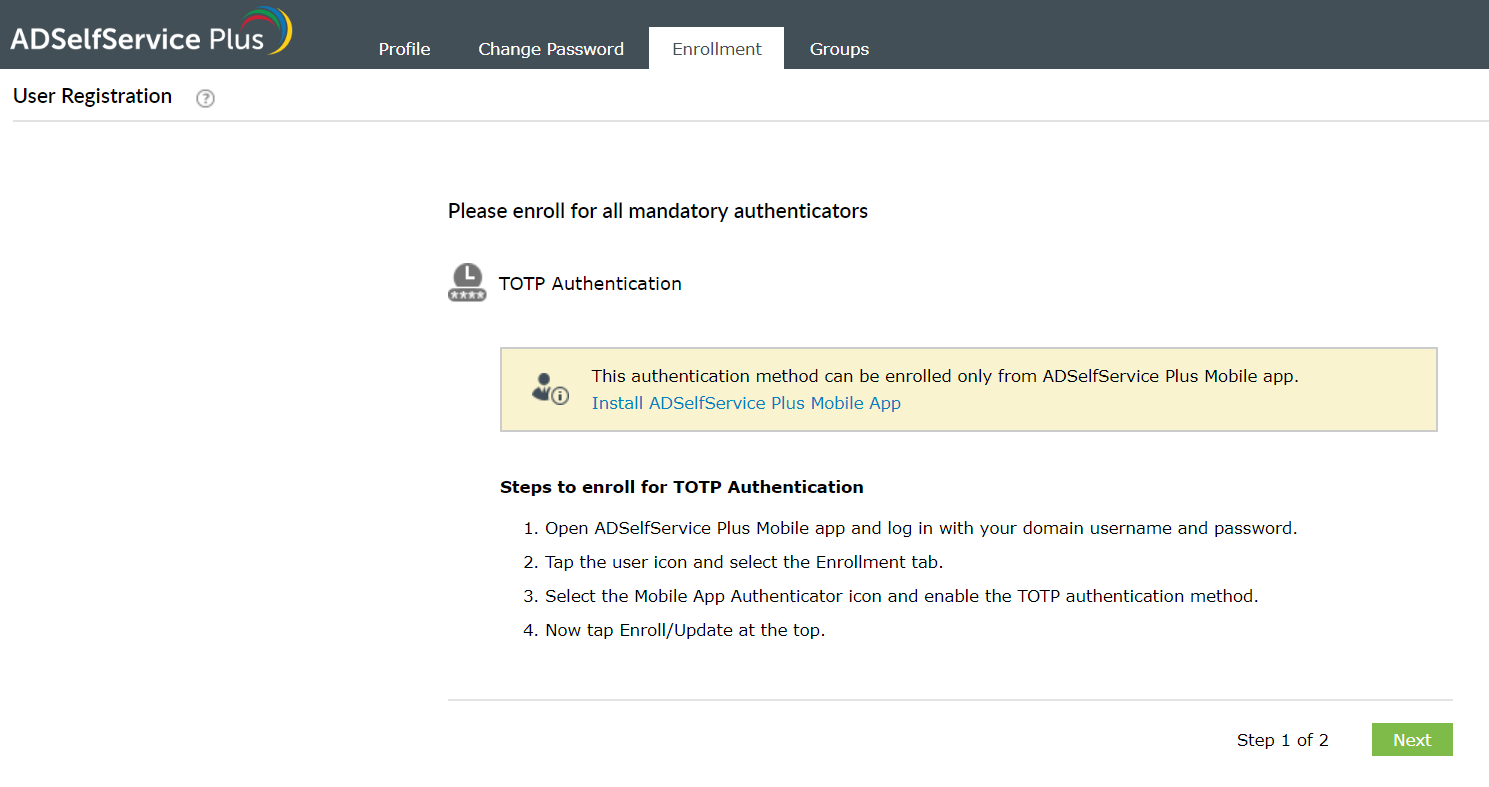 Enrollment using TOTP Authentication