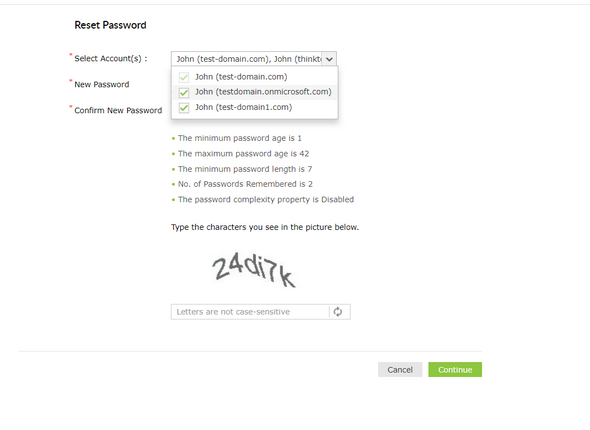 Password reset process