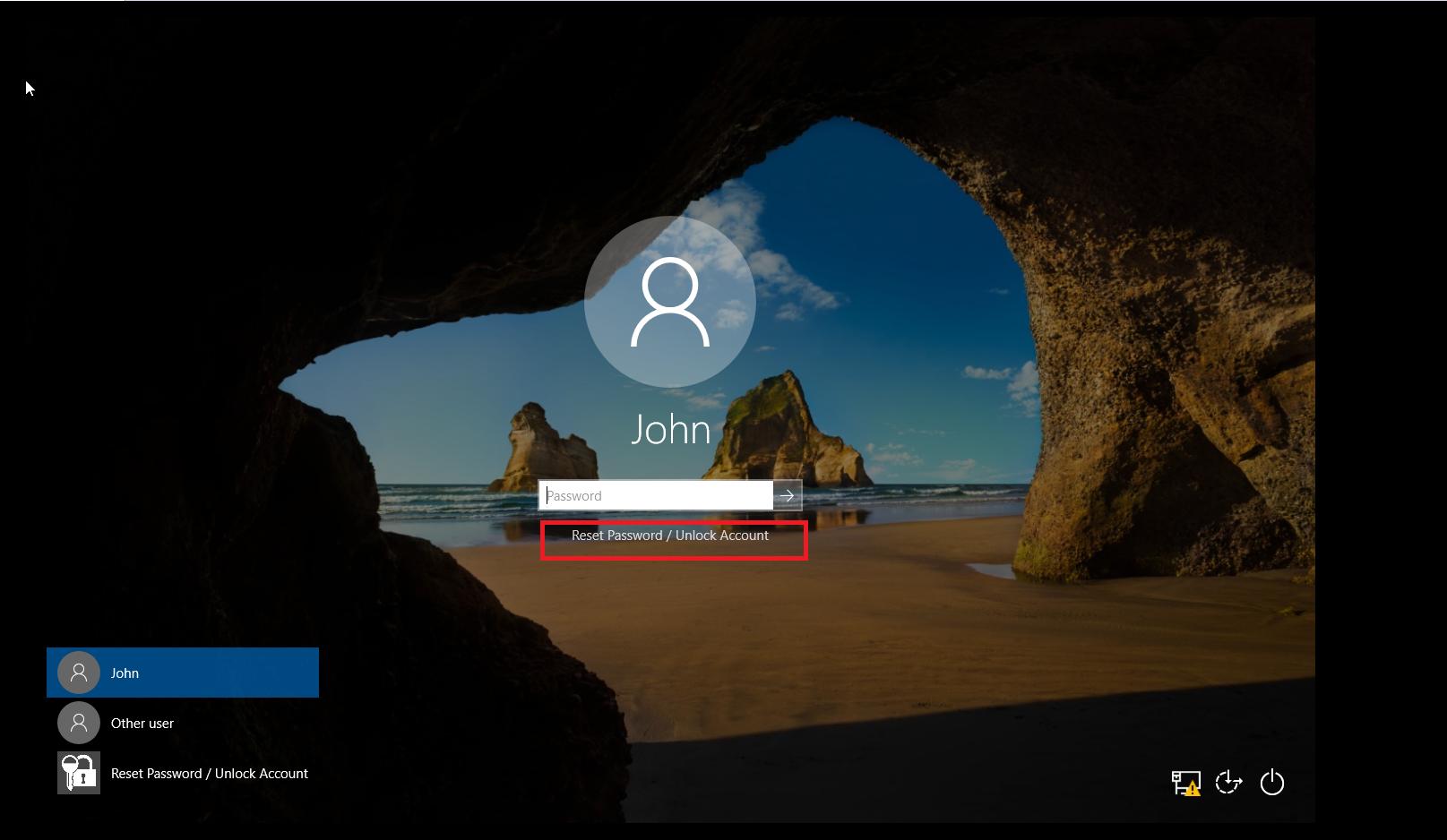 Pantalla de inicio de sesión de Windows