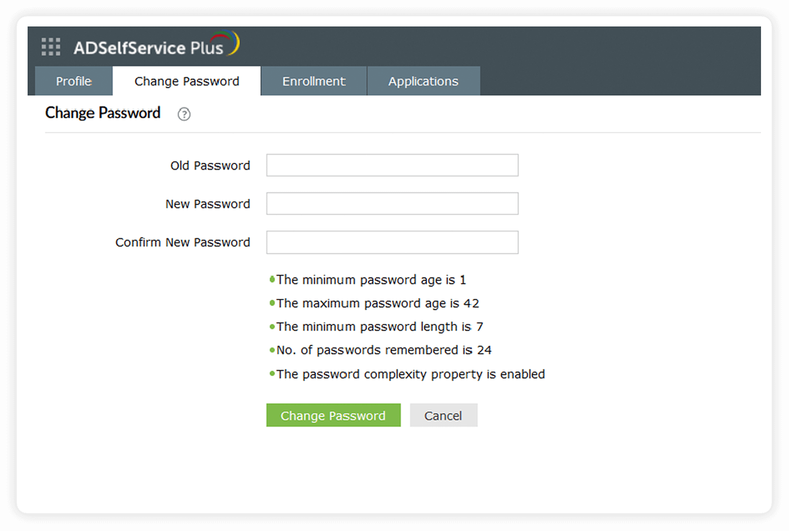 adselfservice-plus-change-password-screen