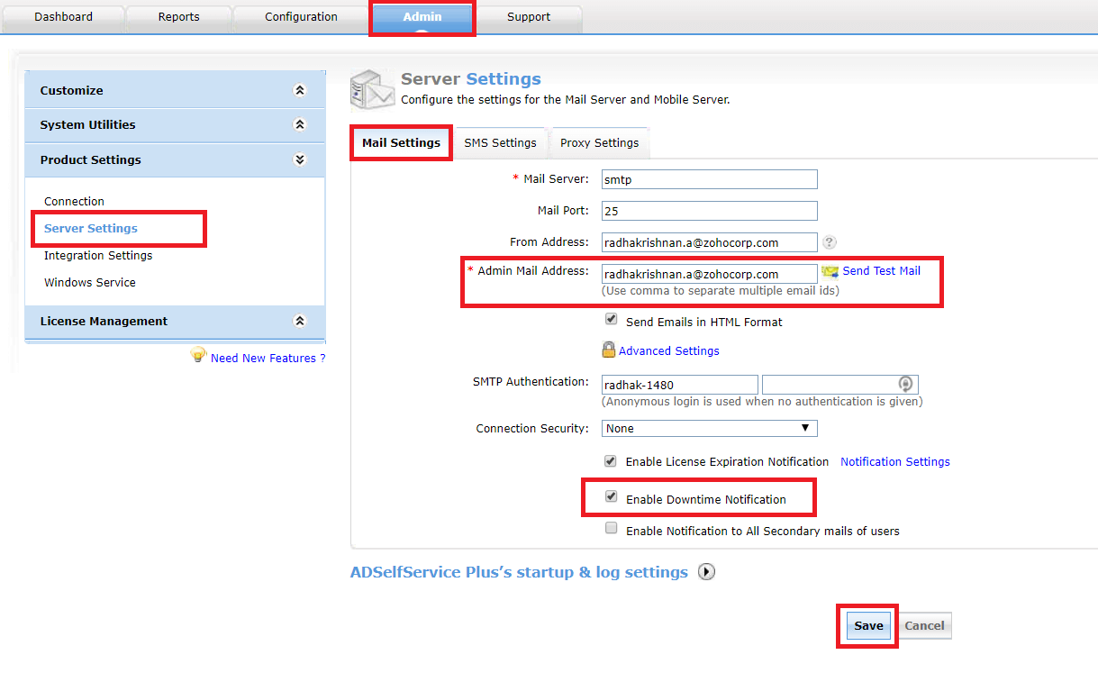 Configure downtime notifications
