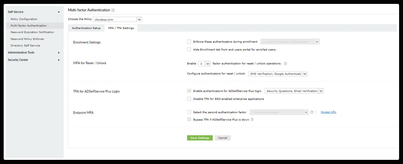 Configure MFA for self-service password resets in ADSelfService Plus