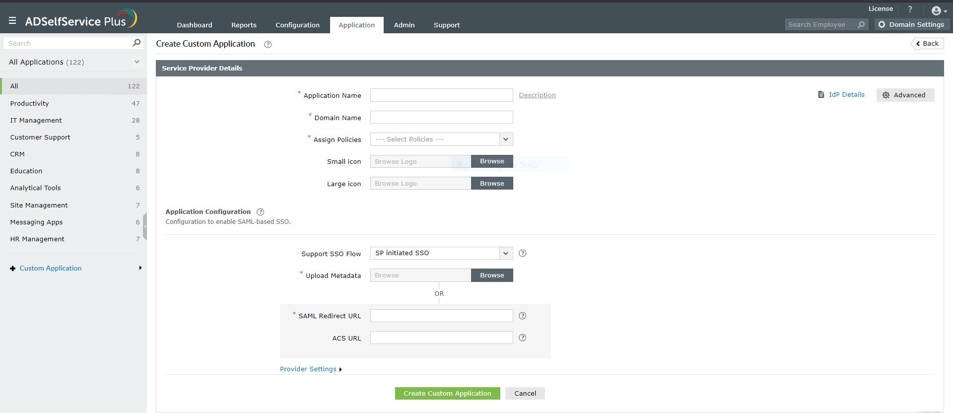 Custom saml apps single sign on configuration