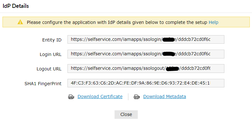 Download SSO Certificate