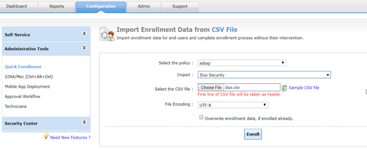 CSV enrollment