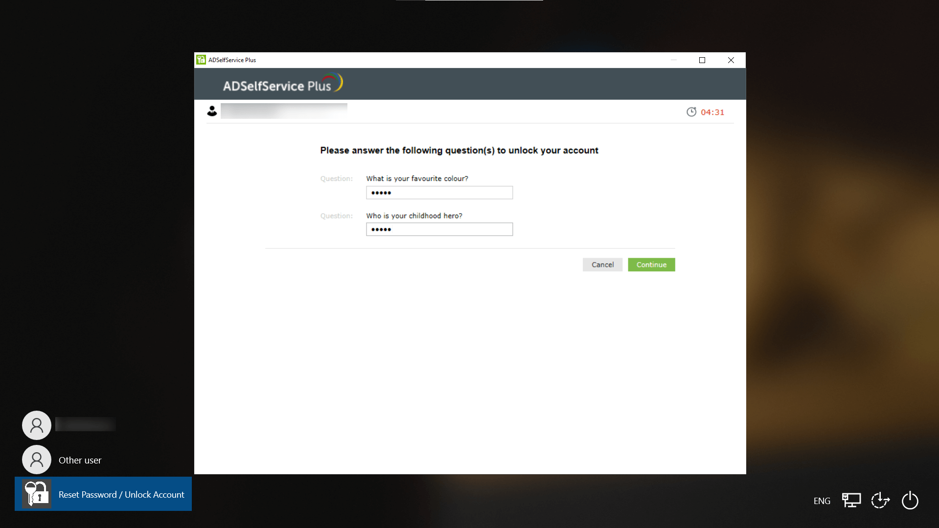 Reset an administrator password using ADSelfService Plus