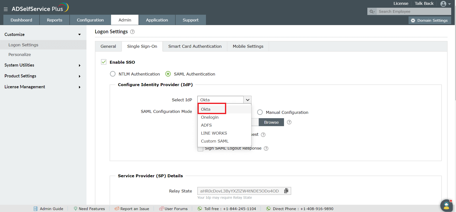 How to enable SAML-based SSO for ADSelfService Plus using Okta?