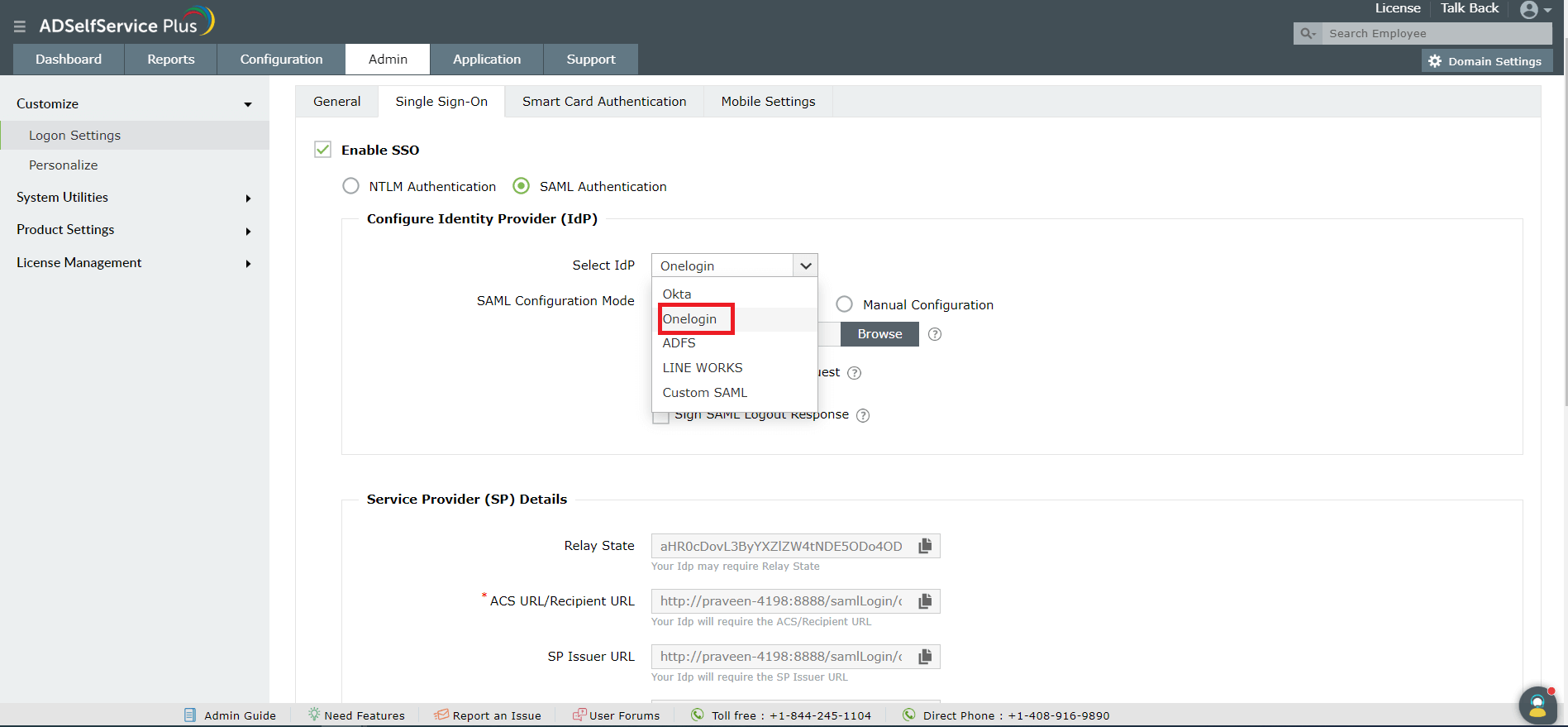 How to enable SAML-based SSO for ADSelfService Plus using