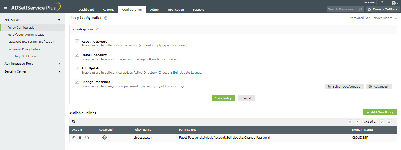 Remote Password Management Through User Portal For Users Outside The Domain Network Adselfservice Plus