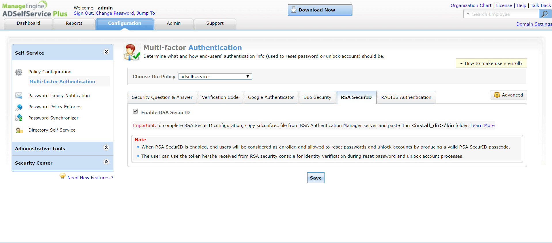 Multi Factor Authentication with RSA SecurID for Active