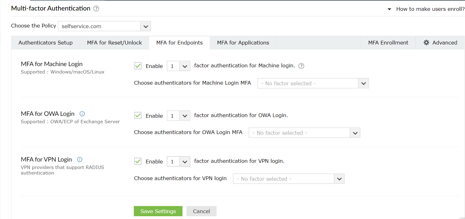 Steps to enable MFA for ADSelfService Plus