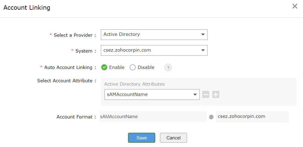 Selecting account attribute