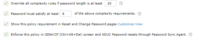 Password complexity settings