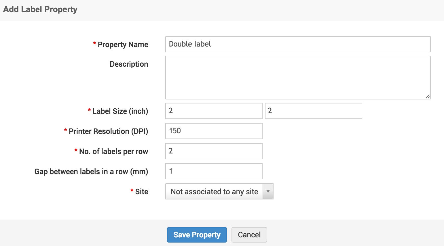 Label property/printer/browser setting Barcode generation