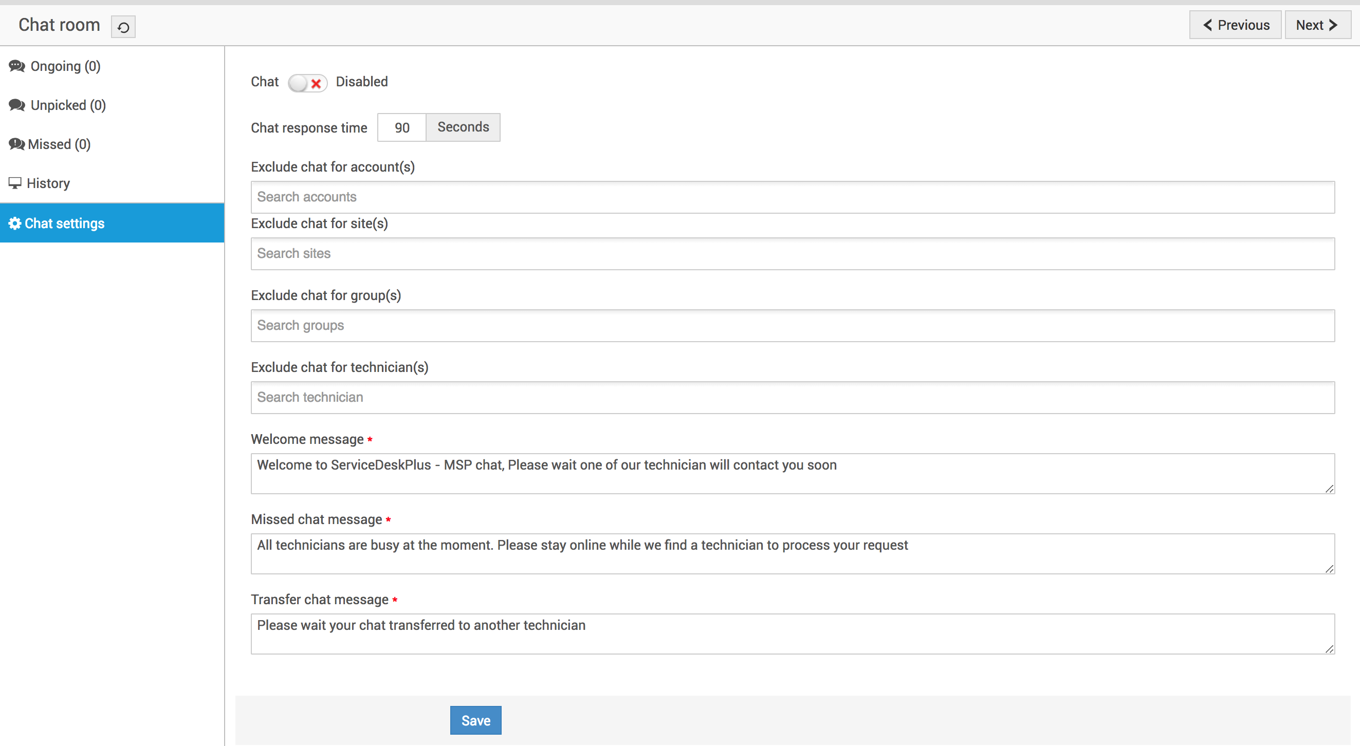 Configure Live Chat Settings in ServiceDesk Plus