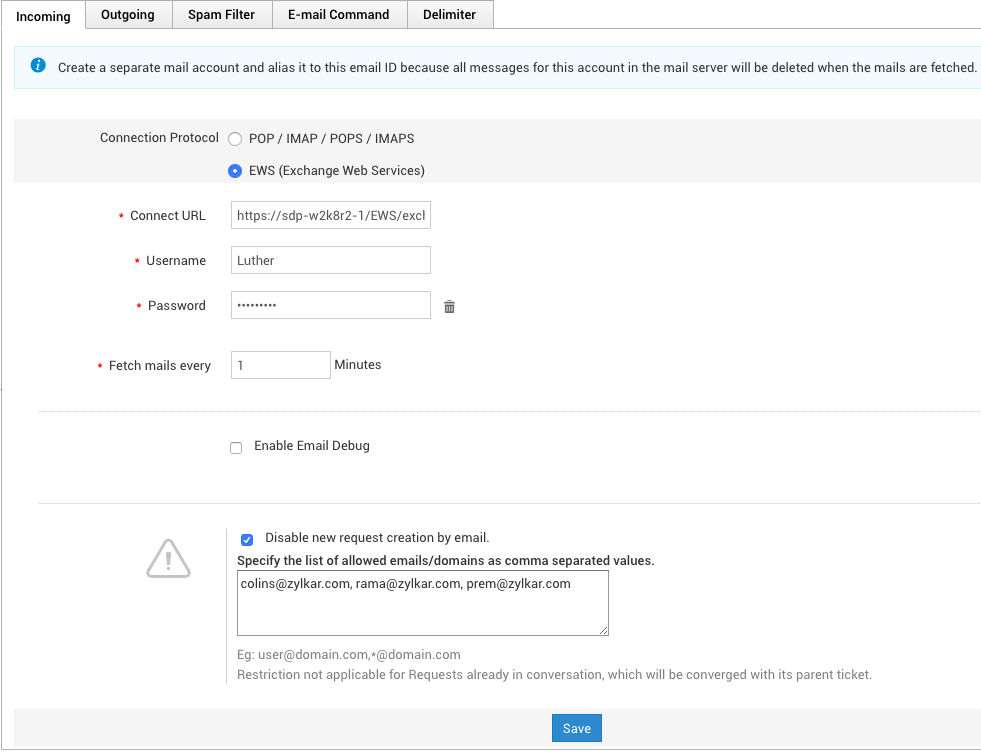 Configure email server settings | Help desk admin guide