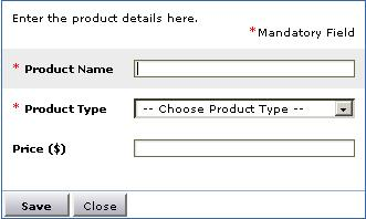 Add New Product pop-up
