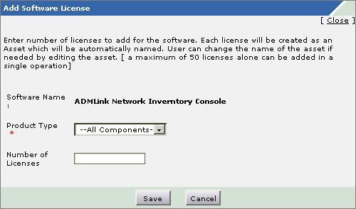 Adding Software Licenses window