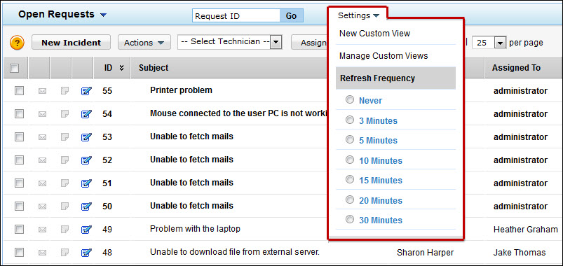 The Refresh Timer Refreshes The Request List View Page At Regular  Intervals. But This Can Slow Down The Performance Of ServiceDesk Plus.