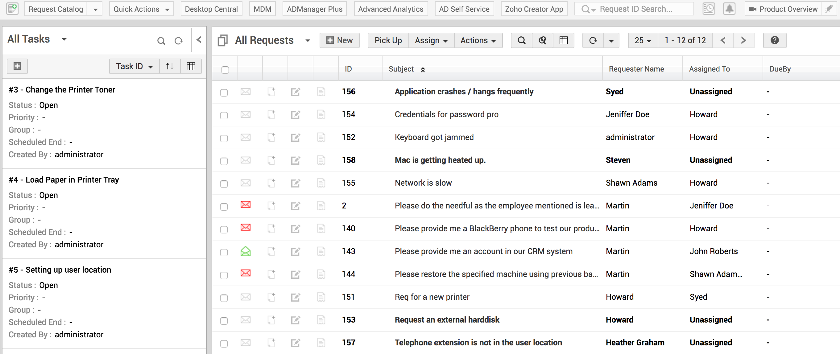 IT Help desk ticket management | ServiceDesk Plus MSP Request List View