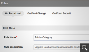 Field and form rules for custom request forms