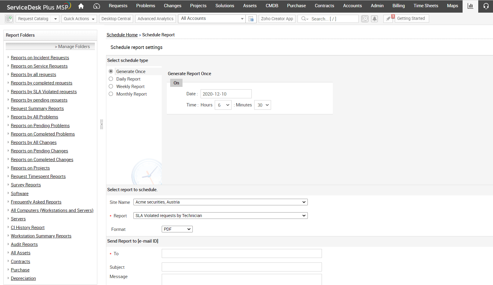 MSP report template