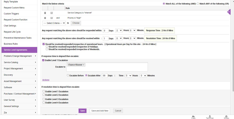 MSP SLA template