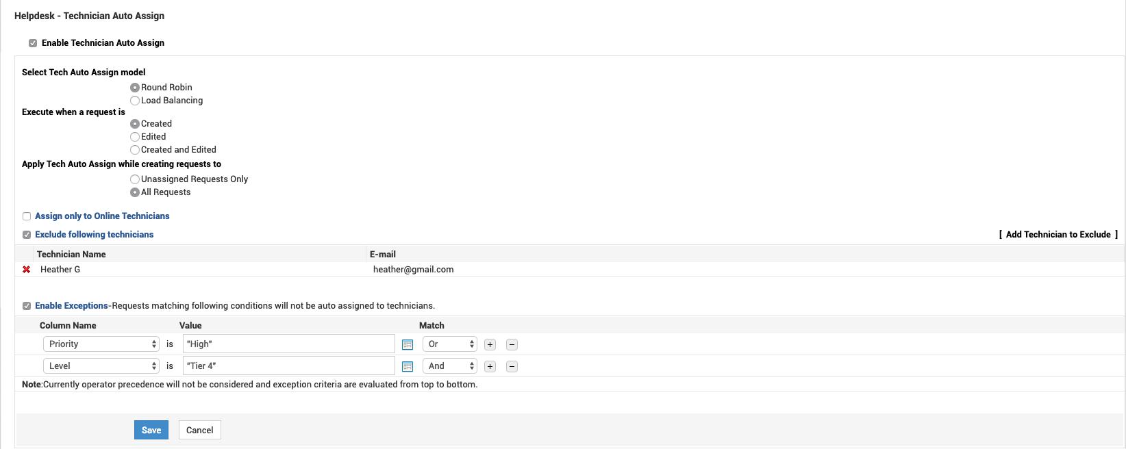 Asignación automática del técnico de la mesa de servicio