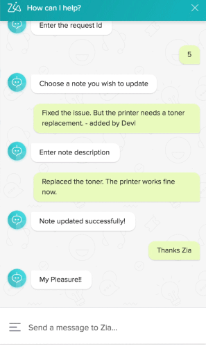 Zia help desk chatbot automation