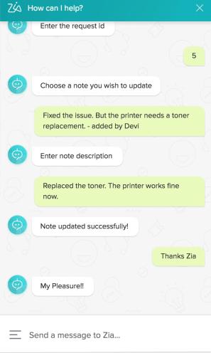 Automatización del chatbot de la mesa de ayuda de Zia