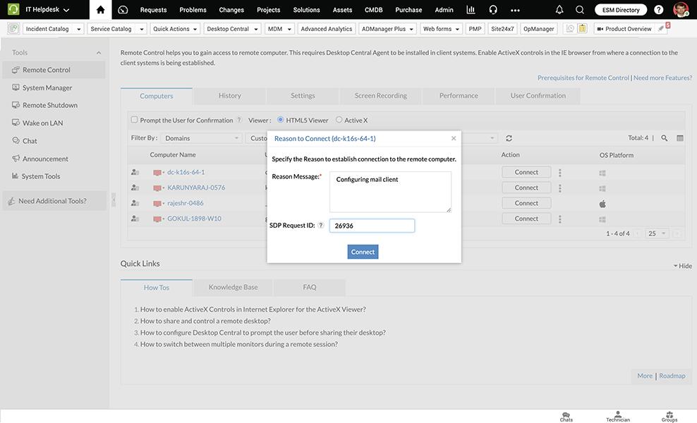 Enterprise desktop management integration