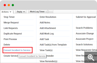 Convert incident to service request