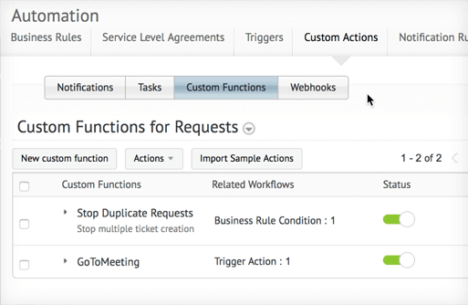 custom request functions