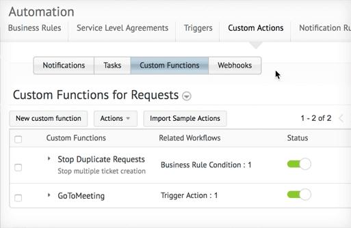 funciones de solicitud personalizadas