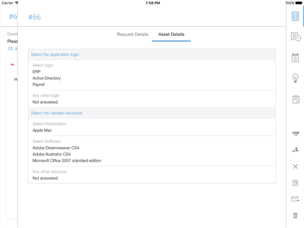 IT help desk asset management on iPad app