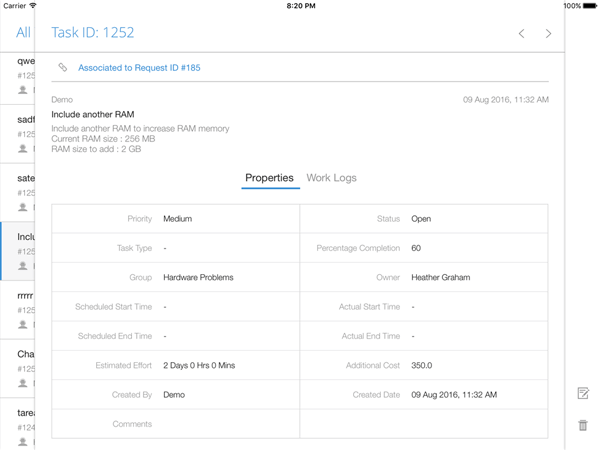 IT task management through iPad app