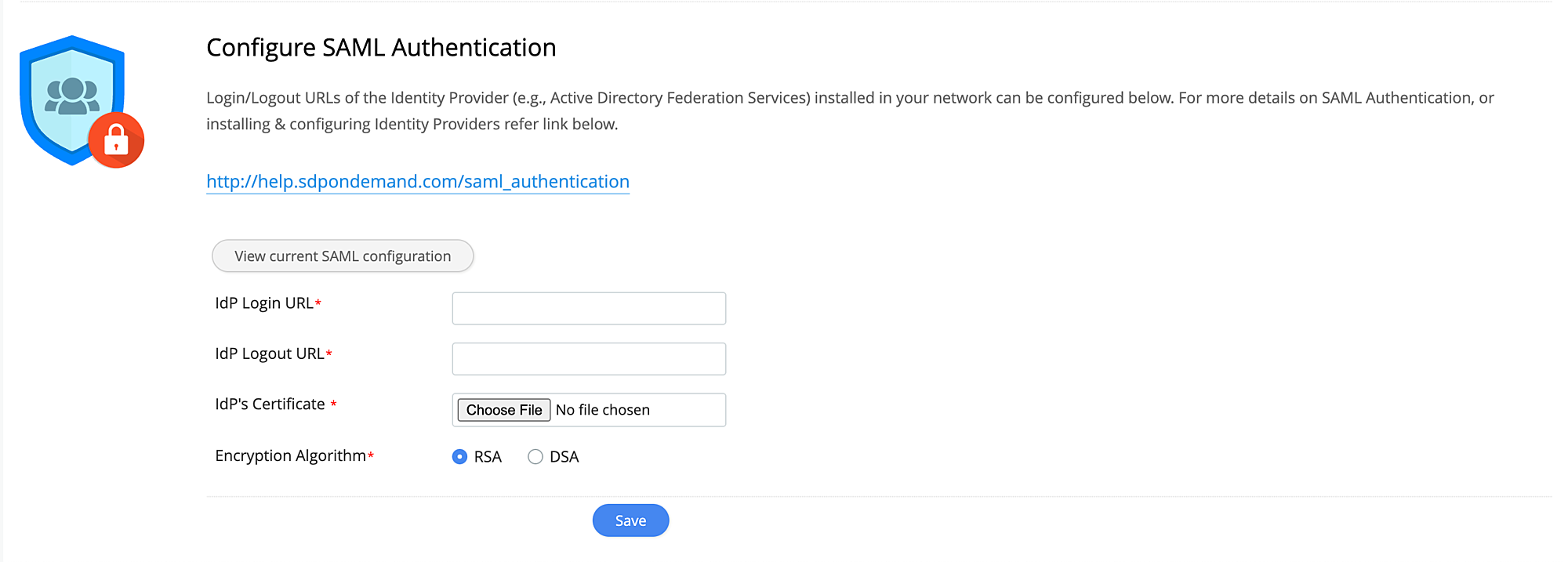 SAML Configuration - help desk solutions