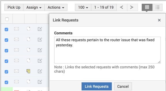 Link incident requests