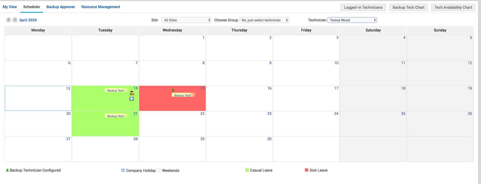 Technician availability scheduler