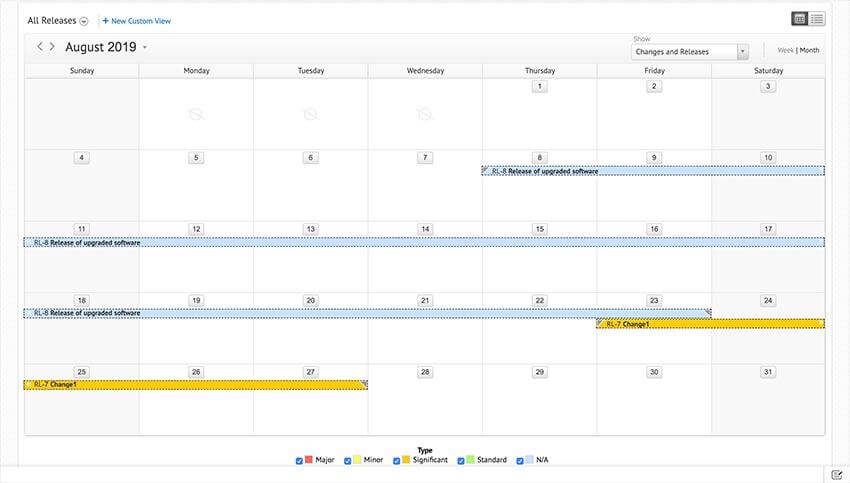 ITIL release calendar