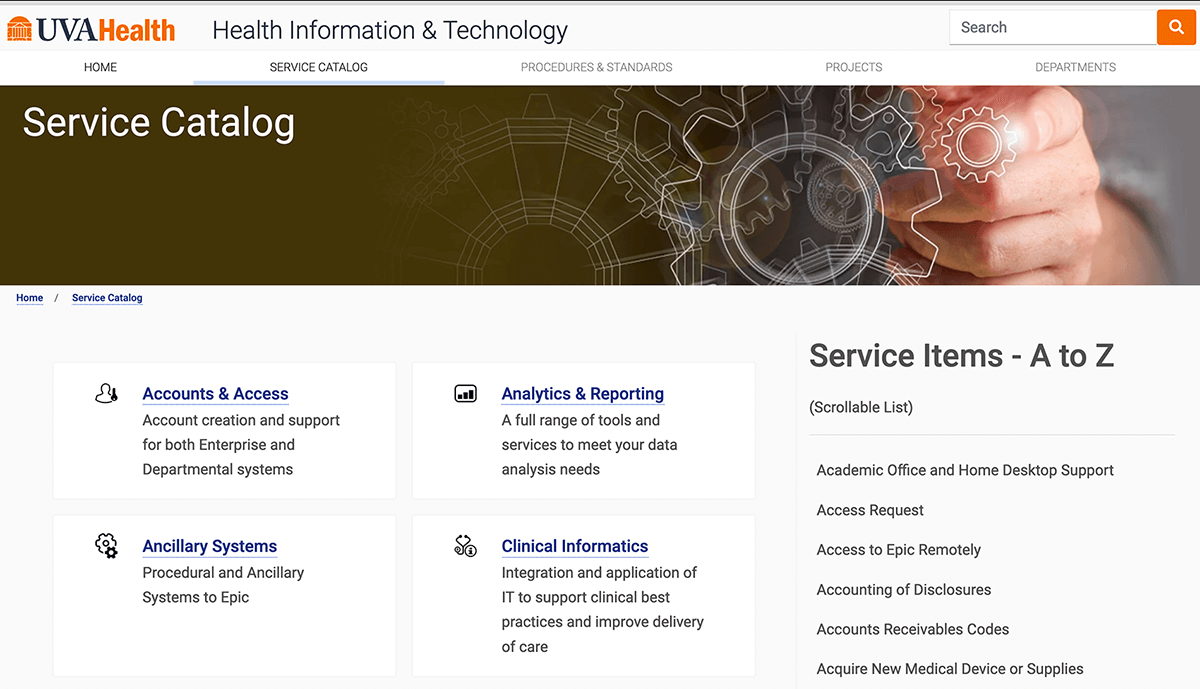 ITIL service catalog examples - Virginia healthcare