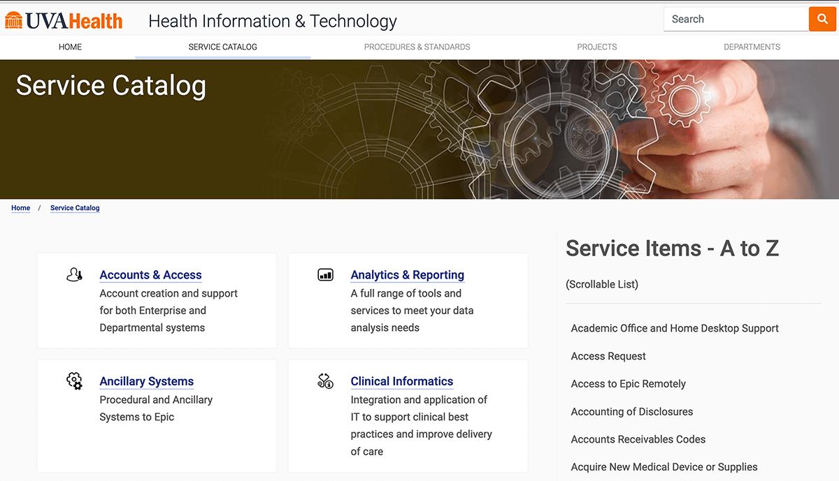 Ejemplos de catálogos de servicios de ITIL - Virginia healthcare