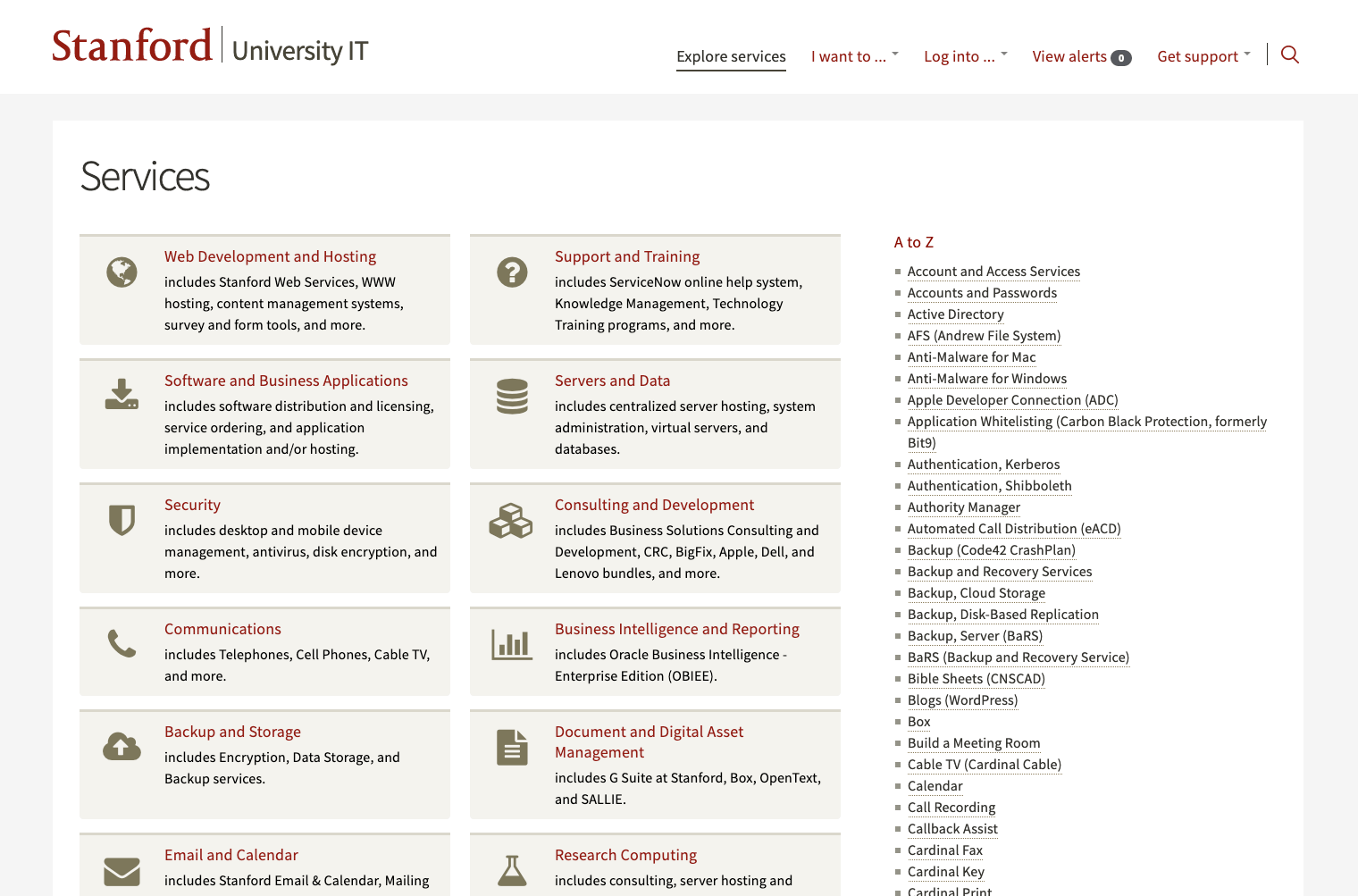 Service catalog of Stanford University