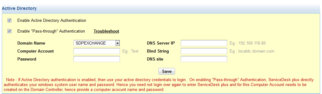 Enable active directory authentication