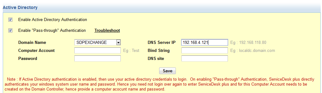 Enable pass through authentication