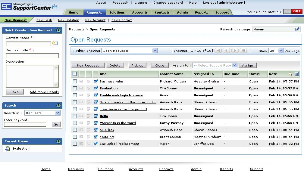 Click to view ManageEngine SupportCenter Plus 7 screenshot