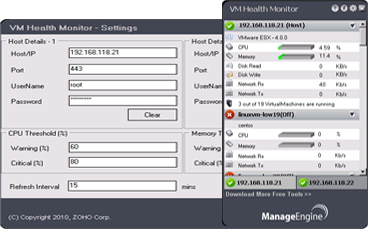ManageEngine VM Health Monitor