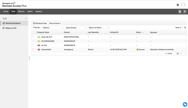 Remotely shutdown, restart, lock computers | Power down inactive