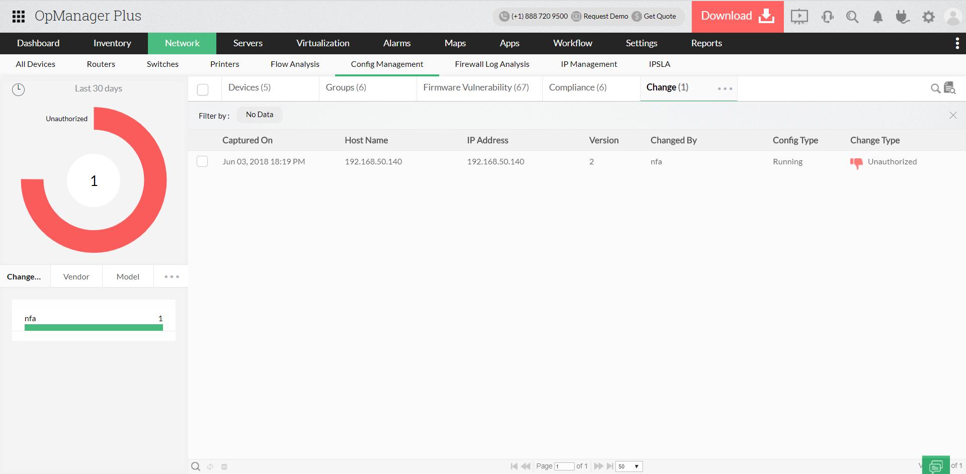 Отслеживание изменений в конфигурации - ManageEngine OpManager Plus